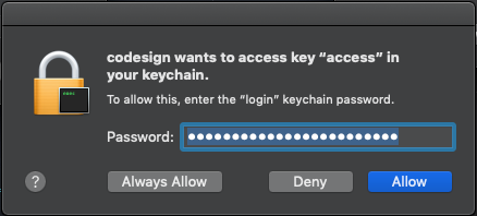 Annoying alert asking for our password to access our keychain