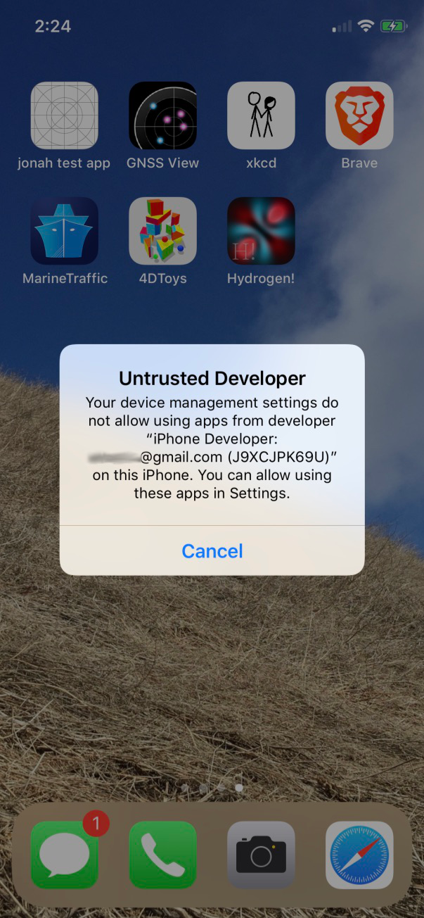 iOS alert, warning that our app cannot be launched without trusting the developer signing certificate
