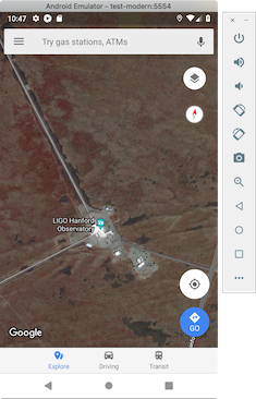Launch Google maps, centering on a particular set of geographical coordinates.